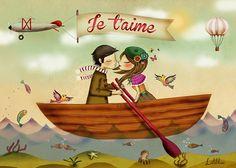 Postal Je t'aime con ilustración original de la marca Laliblue. Marca española realizada de manera artesanal integramente en España