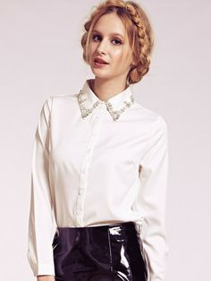 Dahlia Selma White Blouse with Diamante Embellished Collar | Dahlia