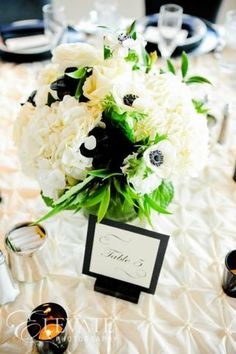 black, white and green elegant Italian inspired wedding centerpieces   carlycylinder.com