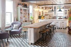 Double sided kitchen bar/island. YA!! THIS is how you fit a dozen people in a smal space. This just saved my life.
