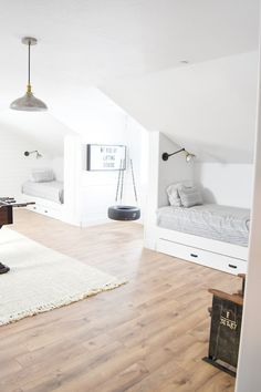 Kara's Party Ideas Boys Bedroom + Sleepover Room Reveal With The Best Mattresses Out There! Girls Bedroom, Bedroom Decor, Bedroom Furniture, Wall Decor, Sleepover Room, Shared Bedrooms, Boys Shared Bedroom Ideas, Boy And Girl Shared Bedroom, Attic Rooms