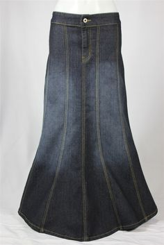 Day To Day Black Long Jean Skirt, Sizes 2-16: theskirtoutlet.com