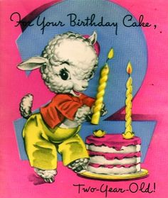 Vintage Birthday Card Baby Lamb Candles Cake