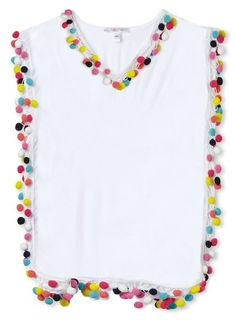 Multi color pom pom poncho cover up for girls to match bikini and bathing suit. Bathing Suits One Piece, Girls Bathing Suits, Bathing Suit Cover Up, Swimsuit Cover, White Cover Up, Beach Cover Ups, Kids Wear, Toddler Girl, Little Girls
