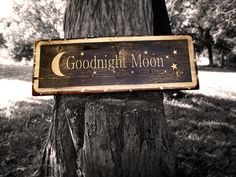 "Primitive Wood Sign ""Goodnight Moon"" by Back Country Primitives, via Flickr make from left over laminate  flooring!"
