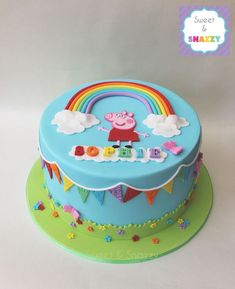 Peppa Pig Cake - Peppa Pig Rainbow Cake with rainbow bunting by Sweet & Snazzy w. Peppa Pig Birthday Cake, Birthday Cake Girls, Birthday Cupcakes, 3rd Birthday, Rainbow Birthday, Birthday Ideas, Fondant Cupcakes, Cupcake Cakes, Tortas Peppa Pig