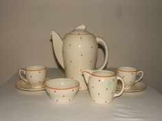 Susie Cooper ART Deco Orange Polka Dots Coffee 4 TWO Rare Stunning   eBay