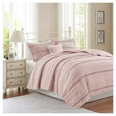Alexis Ruffle Quilted Coverlet Set (Full/Queen) Pink - 4pc : Target