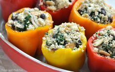 Gevulde paprika's met Quinoa, spinazie en Feta