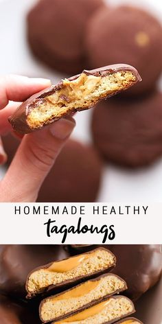 Make healthy Tagalongs at home with only 7 simple ingredients. We're using almond flour cookies, peanut butter and melted chocolate chips to create a vegan and gluten-free version of this Girl Scout classic! and Drink ideas Homemade Healthy Tagalongs Easy Cake Recipes, Healthy Dessert Recipes, Healthy Sweets, Healthy Baking, Sweet Recipes, Delicious Desserts, Healthy Food, Paleo Recipes, Delicious Chocolate