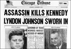 Kennedy shot and killed...I was 8th grade History class when they came in and told us President Kennedy had been shot and had died. Everyone was crying!!