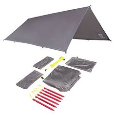 Sanctuary SilTarp 10 foot x 8 foot Ultralight and Waterproof Rain Shelter Tarp Guy Line and Stake Kit Perfect for Hammocks Camping and Backpacking >>> Check out this great product.