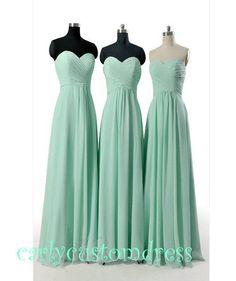Cheap Long Mint Chiffon Bridesmaid Dress Coral by CarlyCustomDress, $79.99-Shantel