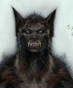 This is freaky as shit! Female Werewolves, Vampires And Werewolves, Gothic Fantasy Art, Dark Fantasy, Fantasy Creatures, Mythical Creatures, Wolf Hybrid, Werewolf Art, She Wolf