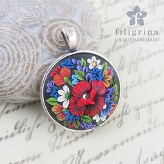 Polymer clay filigree applique technique, handmade round pendant, vintage, wedding jewelry, floral jewelry, folk, folklore flowers Handmade pendant MEADOW floral motif with red poppy by Filigrina, €22.99