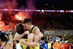 Bogdan Bogdanovic, #13 of Fenerbahce Istanbul celebrates with Jan Vesely, #24 of Fenerbahce Istanbuland at the end of Championship Game 2017 Turkish Airlines EuroLeague Final Four between Fenerbahce Istanbul v Olympiacos Piraeus at Sinan Erdem Dome on May 21, 2017 in Istanbul, Turkey.