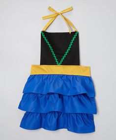 Look what I found on #zulily! Royal Blue & Black Ruffle Apron - Girls by Smock Candy #zulilyfinds