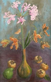 Still life with pear and lillies By Sir Cedric Morris