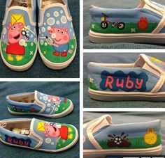 DIY hand painted peppa pig shoes. I found these here http://pixsta.com/u/kimb0b87/p/WStrYqHTAf/ along with some good advice how to go about painting them.  Like: -acrylic paint and liquid acrylic or u can use paint pens aswell like uni posca's and molotow's.. -sketch  on paper first then draw on the shoe in pencil.  -mask off the rubber sole with electrical tape or masking tape..  -acrylic paint is waterproof once dry but I still use a little bit of waterproof spray after the paint has…