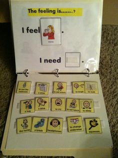communicate feelings and wants with this homemade binder. Make pecs by taking screenshots of your Proloquo2go app on your ipad. http://www.pinterest.com/evaninspired/ Inspired by Evan Autism Resources!