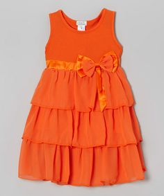 This Coral Tiered Ruffle Dress - Toddler & Girls by Littoe Potatoes is perfect! #zulilyfinds