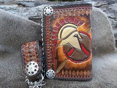 Wallet Hand Tooled Leather Chain Wallet For by POPSLEATHERSHOP
