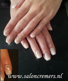 French manicure naturel bling strass