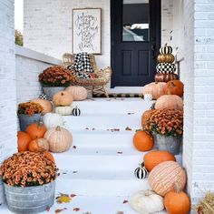 When it comes to fall porch decorating ideas, there are a variety of ways to welcome your guests with seasonal vibes, from pumpkins to mums and pretty fall wreaths. Patio Decorating Ideas On A Budget, Porch Decorating, Decor Ideas, Summer Porch Decor, Fall Doormat, Pumpkin Topiary, Small Front Porches, Door Paint Colors, Beautiful Farm