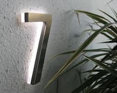 modern house signs - illuminated number