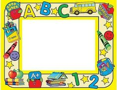 there are six simple words that you can use Preschool Name Tags, Toddler Preschool, Borders For Paper, Borders And Frames, Preschool Procedures, School Border, Powerpoint Background Design, School Frame, Kids Background