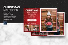 Christmas Mini Session Template, Christmas Photography Marketing, Holiday Mini Session | Photoshop & Elements | Instant Download
