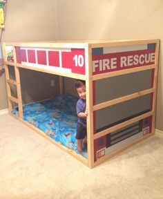 check this out fdny fire truck bunk bed from ikea kura ikea hacks pinterest ikea