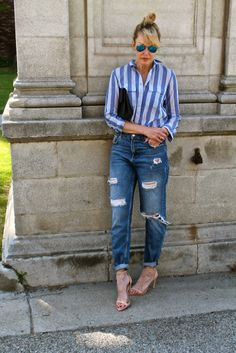 #jenknowsbest #jenandrews #stripes @Madewell #denim #destroyed @· ZARA · #streetstyle #style #blog #blogger #fashionblogger www.jenknowsbest.com