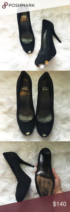 Stunning Stuart Weitzman Black Suede Heels So pretty and the perfect wardrobe staple! Like new with signs of wear to bottoms. Size 7.5, would work best for a 7-7.5. No trades!! 061716100gwb Stuart Weitzman Shoes Heels