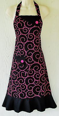 Black and Pink Apron, Womens Full Apron , Retro Style Apron , Handmade