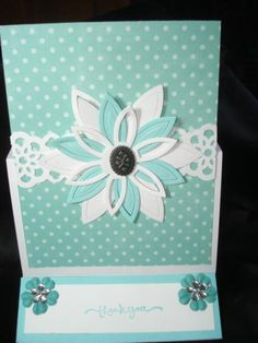 Handmade Easel Thank You Card Using Stampin Up Spellbinders Daisy  Rhinestones #ThinkingofYou