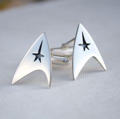mens cufflinks Star Trek cufflinks quirky mens jewelry sterling silver geek jewelry best man grooms gift. $87.00, via Etsy.