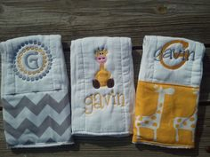 Personalized baby boy burp cloths - safari giraffe. $30.00, via Etsy.