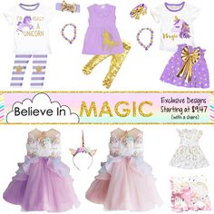 *NEW* Believe In Magic Unicorn Outfits! Exclusive designs starting at 0-6 months to size 13/14, limited pre-order so don't miss out...