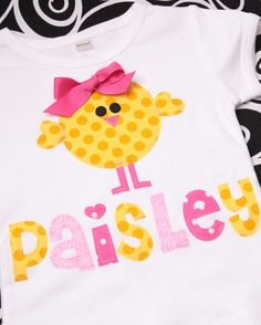 Boutique Personalized Spring Baby Chick by MineAllMineDesigns, $25.00