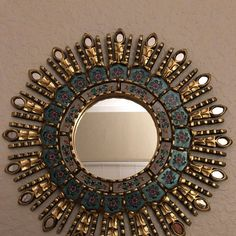"Gold Decorative Sun Mirror from Peru, Ornate Turquoise Round Mirror ""Turquoise Sunburst"", Peruvian Sunburst wall mirror for wall decor"