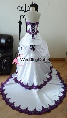 purple dresses | purple and white wedding dresses...so pretty and different