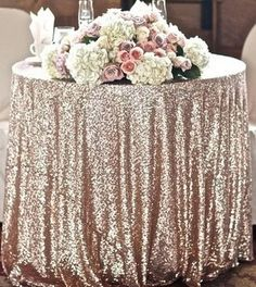 """120"""" Round Champagne Sequins Table Cloth $100 CAKE TABLE"""