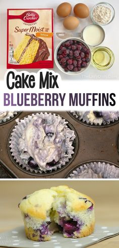 Moist Blueberry Muffins, Blueberry Recipes, Blue Berry Muffins, Blueberry Muffin Cake Mix Recipe, Blueberry Cobbler, Easy Desserts, Delicious Desserts, Dessert Recipes, Yummy Food