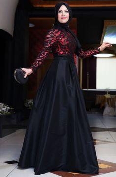 Mislinas Selin Tafta Abiye Elbise 15Y3367 Kırmızı