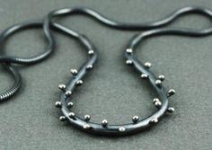 Oxidized sterling silver necklace  forged by katejonesjewelry