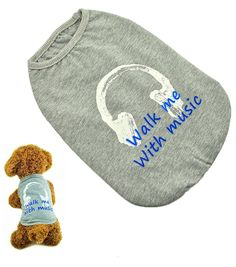 BIG SMILE PET Dog Shirt Cotton Walk Me With Music >>> Check out this great image  : Dog Apparel and Accessories
