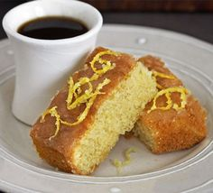 Polenta (sometimes called fine cornmeal) gives this cake its yellow colour and soft texture