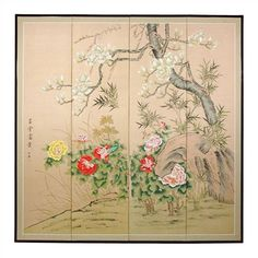 "Oriental Furniture 72"" x 72"" Harmony in Nature 4 Panel Room Divider"