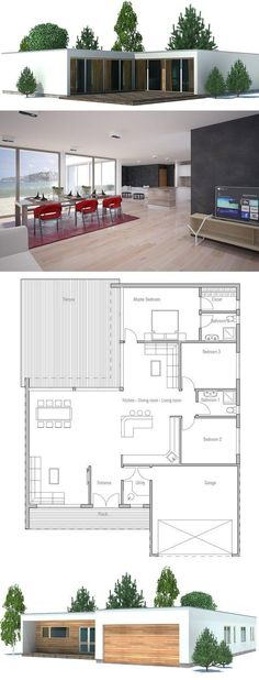 Modern House Plan with double garage, three bedrooms. Floor plan from ConceptHome.com: